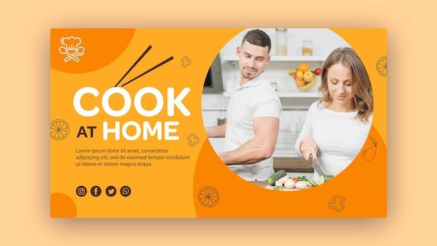 Plantilla de cocinero de banner en casa