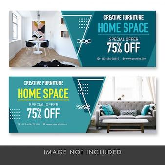 Plantilla de colección azul de muebles creativos de banner