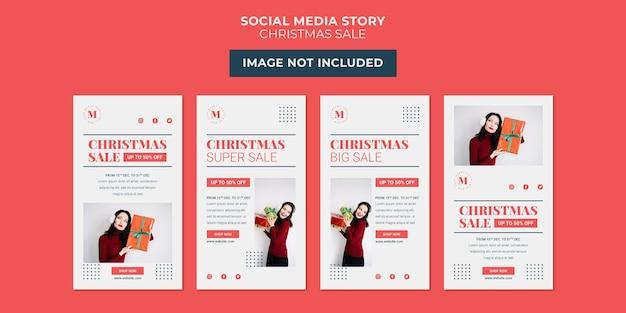 Plantilla de colección de historias de redes sociales minimalistas de venta navideña