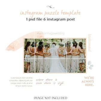 Plantilla de collage de instagram de boda romántica