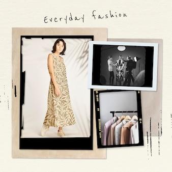 Plantilla de collage de moda cotidiana psd película fotográfica de época publicación en redes sociales