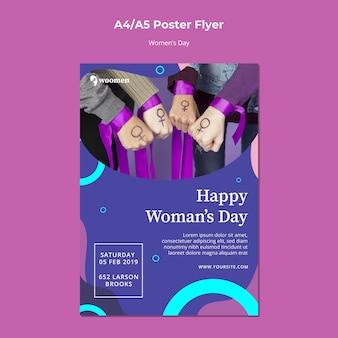 Plantilla colorida del cartel del día de las mujeres