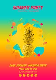 Plantilla colorida de cartel de fiesta de verano