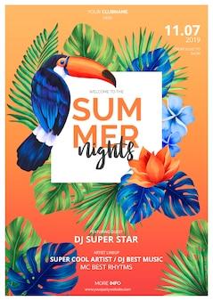 Plantilla colorida del cartel de las noches de verano con el tucán