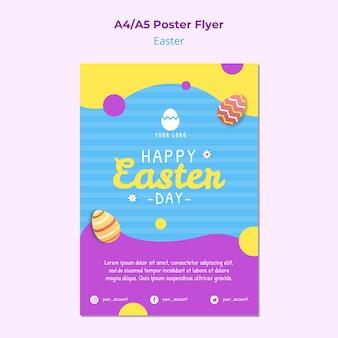 Plantilla colorida del cartel de pascua con huevos