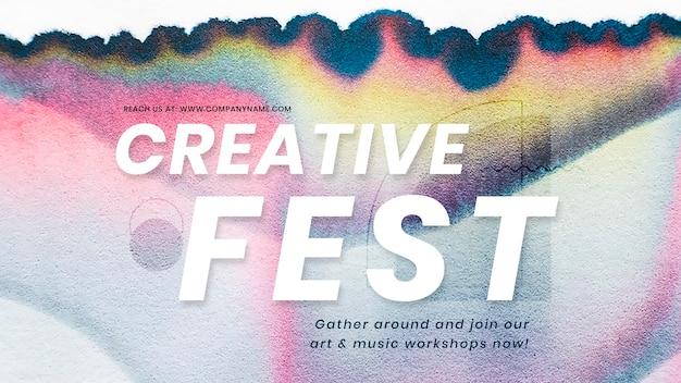 Plantilla colorida de festival creativo psd en banner de anuncio de arte de cromatografía