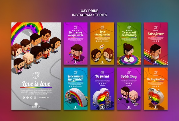 Plantilla colorida de historias de instagram de orgullo gay