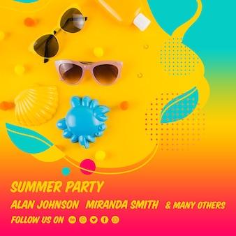 Plantilla colorida de post cuadrado de fiesta de verano