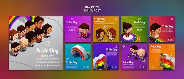 Plantilla colorida de publicaciones de redes sociales del orgullo gay