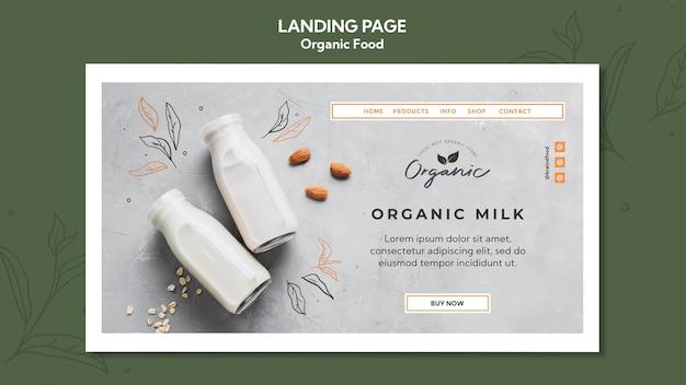 Plantilla de comida orgánica de página de destino
