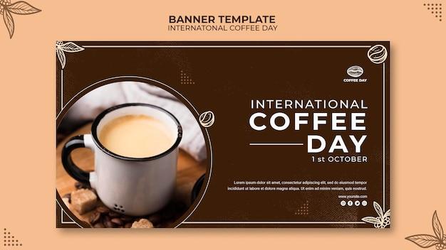 Plantilla de concepto de banner de día internacional del café