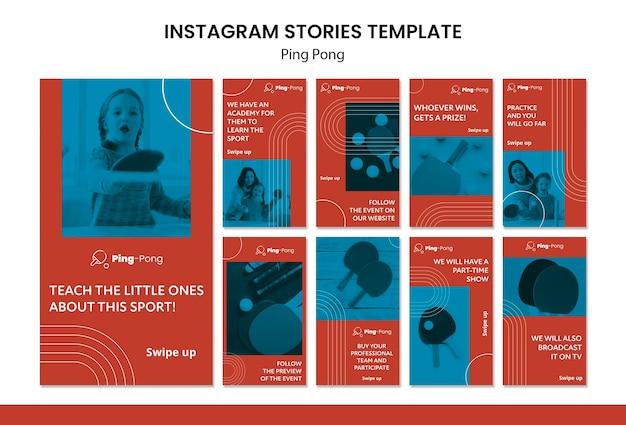 Plantilla de concepto de historias de instagram de ping pong