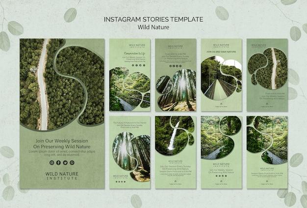 Plantilla de concepto de naturaleza salvaje de historias de instagram