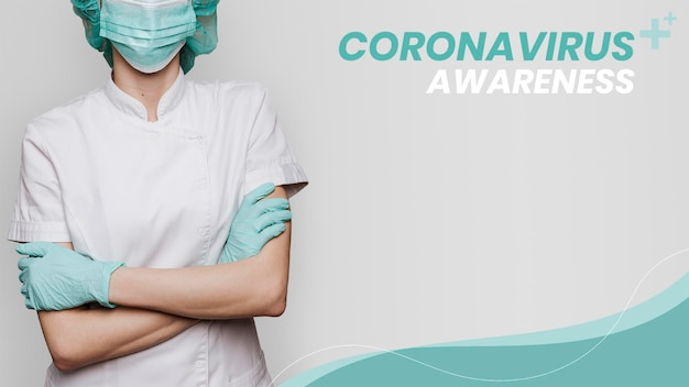 Plantilla de concientización sobre el coronavirus para apoyar a los profesionales médicos