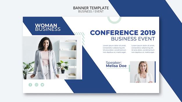 Plantilla de conferencia con concepto de mujer de negocios