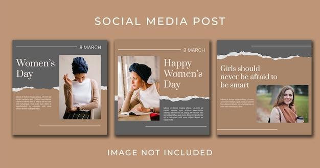 Plantilla de conjunto de banner de día de la mujer de publicación en redes sociales