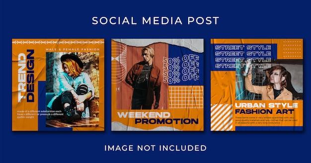 Plantilla de conjunto de colección de streetwear de publicaciones en redes sociales