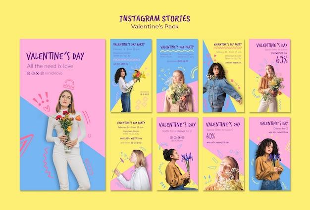 Plantilla de conjunto de historias de instagram de san valentín