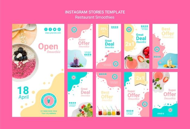 Plantilla de conjunto de historias de smoothie de instagram