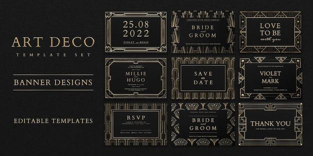 Plantilla de conjunto de psd de invitación de boda con patrón art deco para banner de redes sociales