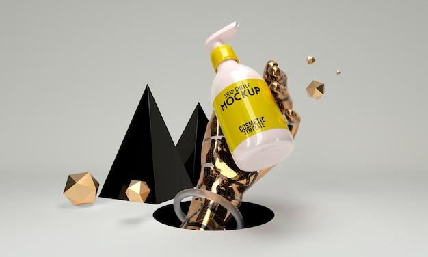 Plantilla cosmética abstracta botella jabón 3d render boceto