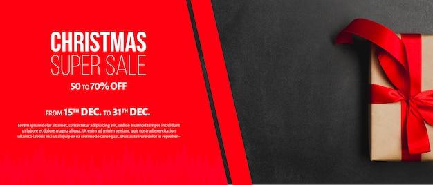 Plantilla creativa de banner para rebajas de navidad