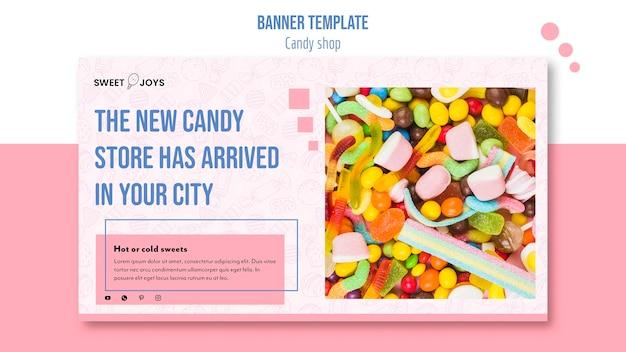Plantilla creativa de banner de tienda de dulces con foto