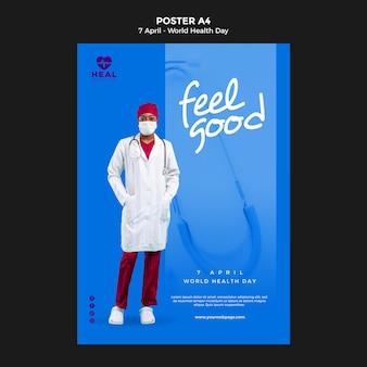 Plantilla creativa del cartel del día mundial de la salud con foto