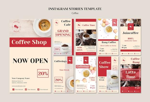 Plantilla creativa de historias de instagram de cafetería