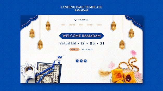 Plantilla creativa de página de destino de ramadán