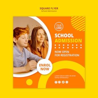 Plantilla cuadrada de concepto de admisión escolar