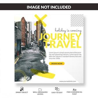 Plantilla cuadrada de pancarta o folleto para operadores turísticos o agencias de viajes.