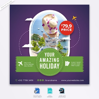 Plantilla cuadrada de publicación de redes sociales de viajes turísticos
