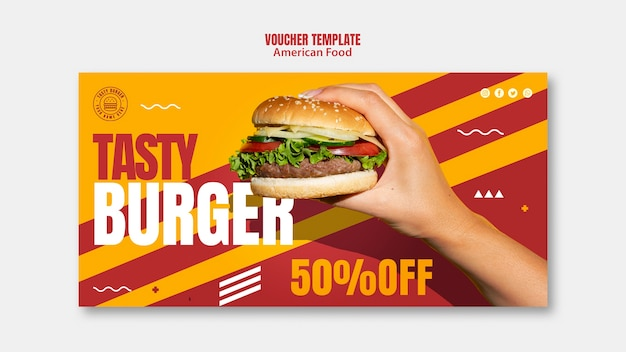 Plantilla de cupón de comida americana hamburguesa sabrosa