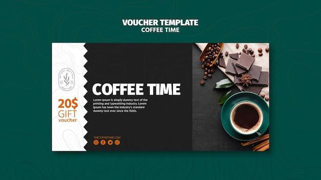 Plantilla de cupón de tiempo de café y chocolate