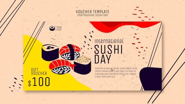 Plantilla de cupones de sushi