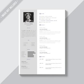 Plantilla de currículo blanco con detalles plateados