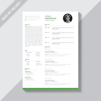 Plantilla de currículo blanco con detalles verdes