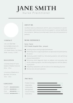 Plantilla de currículum psd editable en diseño limpio con foto