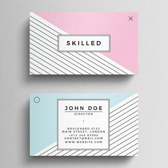Plantilla de tarjeta de visita minimalista en colores pastel