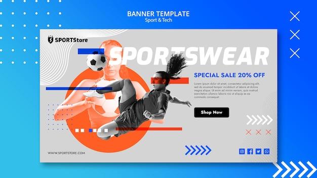 Plantilla de deporte y tecnología para banner