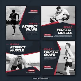 Plantilla de deportes de atleta del paquete de publicaciones de instagram
