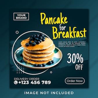 Plantilla de desayuno panqueque post banner