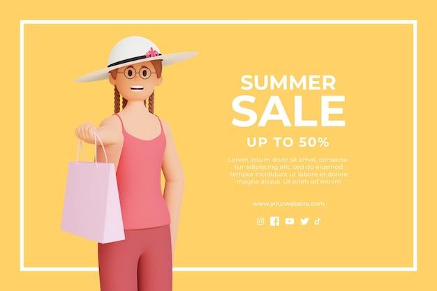 Plantilla de descuento de venta de verano 3d con personaje femenino 3d