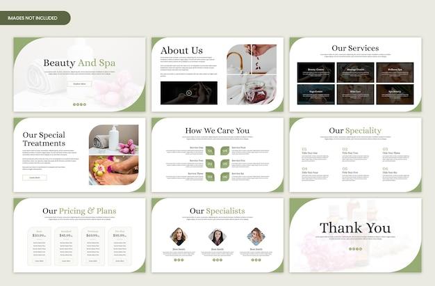 Plantilla de diapositiva de presentación mínima de belleza y spa