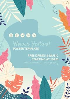 Plantilla dibujada de festival de flores