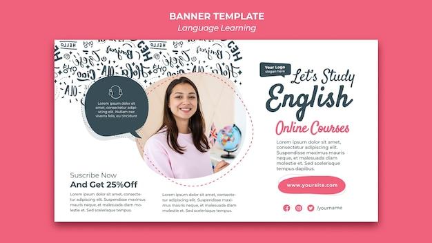 Plantilla de diseño de banner de aprendizaje de idiomas