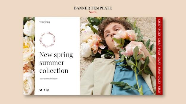 Plantilla de diseño de banner de colección de moda primavera verano