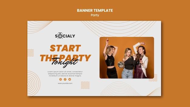 Plantilla de diseño de banner de concepto de fiesta