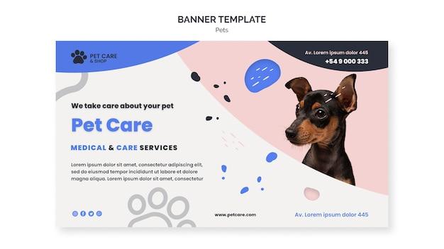 Plantilla de diseño de banner de cuidado de mascotas